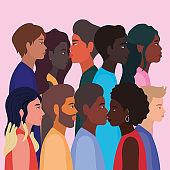 diversity skins of women and men cartoons vector design