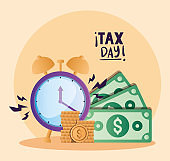 tax day clock bills and coins vector design