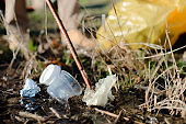 Rubbish collecting outdoors in nature, plogging concept.