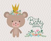Baby shower invitation with bear cartoon vector design