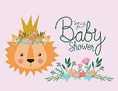 Baby shower invitation with lion cartoon vector design