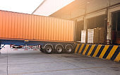 Road freight transportation and warehouse logistics, trucks trailer docking at warehouse, cargo pallets shipment for loading into a truck