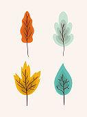 autumn leaves set vector design
