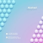 Abstract neon circle background with 3D spheres