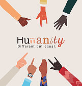 humanity different but equal and diversity hands skin vector design