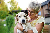 Portrait of senior woman standing outdoors in garden, holding pet dog.
