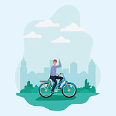 man cartoon riding bike at park in front of city vector design
