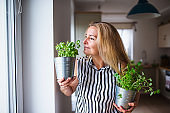 Front view portrait of woman indoors at home, holding herbs.
