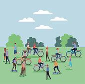 women and men cartoons riding bikes and skateboards at park vector design