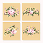 set of pink rose flowers with leaves painting in frames vector design