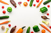 Eco food concept. Frame of various fresh vegetables on white background.