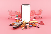 Fast delivery by scooter and van and plane on mobile E-commerce concept Online order with shopping cart and many box on pink background 3d rendering
