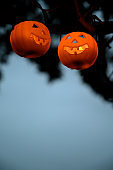 Two pumpkin candles hanging on the branch tree.