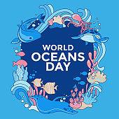 Vector illustration environment ecosystem dedicated to World ocean day