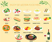 Western food menu line icon