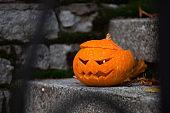 Halloween pumpkin on stairs steps