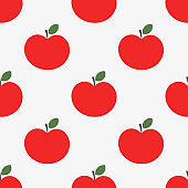 Red apples seamless pattern.