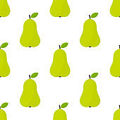 Pear fruit green seamless pattern.