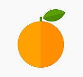 Orange fruit with leaf flat design icon.