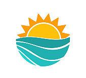 Sunset sun and sea wave summer symbol.