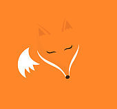 Cute sleeping fox on orange background.