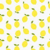 Yellow lemons seamless flat summer pattern.