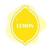 Lemon fruit yellow label or banner.