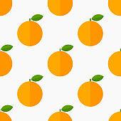 Orange fruits citrus seamless flat design pattern.