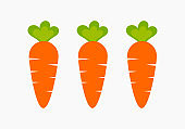 Three healthy carrots from vegetable garden.