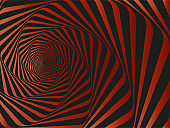 Spiral abstract vector background - Tunnel vortex. Red Spiral abstract background, vector pattern - Vertigo Collection