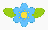 Blue flower with leaves icon.
