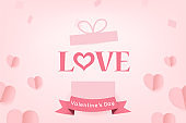 Cute Paper Hearts Float and Love text out of Gift box with ribbon on pink background. Vector Illustration, Valentine's Day Poster