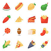 Food and Drinks Icons in Modern Flat Style Pack