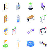 Sports and Gaming Isometric Icons