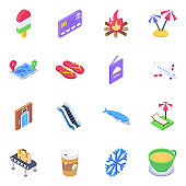 Travel Icons in Modern Isometric Style