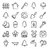 Pack of Farming Doodle Icons