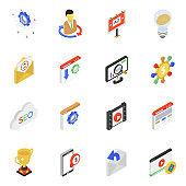 Pack of Seo Marketing Isometric Icons