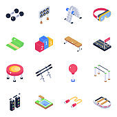 Gym Tools and Gaming Equipment Isometric Icons