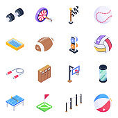 Sports Equipment Isometric Icons Pack