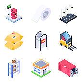 Pack of Logistics in Modern Isometric Design