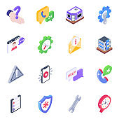 Customer Services Isometric Icons Pack