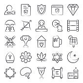 Culture and Tradition Line Icons