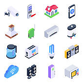 Home Appliances Isometric Icons Pack