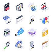Set of Big Data Isometric Icons