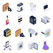 Pack of Electronics and Power Supply Isometric Icons