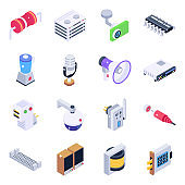 Pack of Electronics and Devices Isometric Icons