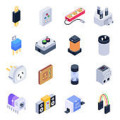 Pack of Electrical Devices Isometric Icons