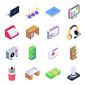 Office Equipment Isometric Icons Pack
