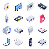 Pack of Electrical Equipment Isometric Icons