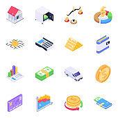 Business Analytics Isometric Icons Pack